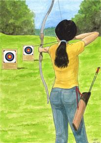 Aquarelle sport représentant le tir à l'arc. Une femme, de dos, bande son arc et vise une cible avec sa flèche.