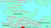 Karte mit den Wanderungen nördlich von Hamburg