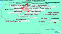Karte der Wanderungen südlich von Hamburg