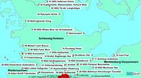 Karte der Wanderungen nördlich von Hamburg