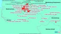 Karte der Wanderungen südl. von Hamburg