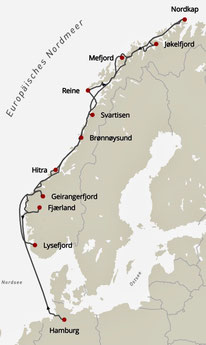 Bild: Karte der Kreuzfahrt von Hamburg zum Nordkap