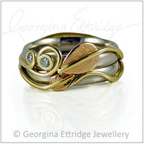 Leaves & Nature Inspired Rings - Wedding & Engagement Ring Set