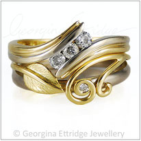 Wedding Ring Shaped to Fit with Engagement Ring