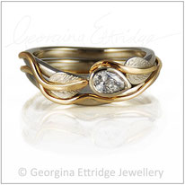 Leaves Engagement & Wedding Ring with Pear Shaped Diamond