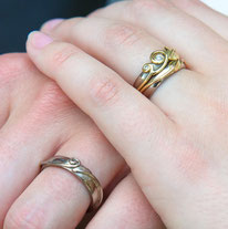 His & Her's leaf, nature inspired bridal wedding set 18ct gold Ring