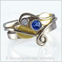 Leaf Engagement & Wedding Ring Bridal Set with a sapphire & diamond in 18ct gold