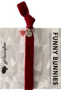 1 elastisches Samt Armband mit Tassel und Anhänger Velvet 02