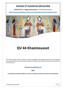 Monographie : QV 44 - Khaemouaset
