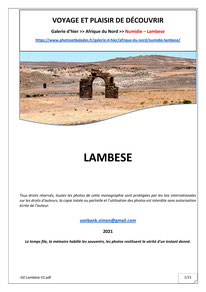 Monographie : Numidie - Lambèse