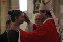 Confirmation de Marie à Plougonven par Mgr Le Vert