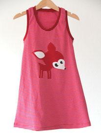 Lumpenprinzessin Jerseykleid Rehkitz geringelt rosa/rot Genähtes/Handarbeit, hergestellt in Deutschland