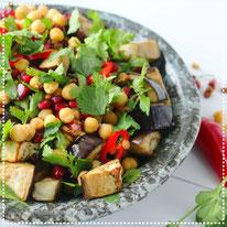 Lauwwarme salade met geroosterde aubergine