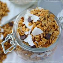 Pindakaas-kokos-choco granola