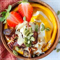 Pompoen-pindakaas smoothiebowl