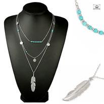 Collier Multirangs Etnique Turquoise Bohéme et Argent