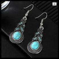 Boucle d'oreilles pendante fantaisie boho gipsy turquoise