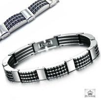 bracelet homme acier noir mat