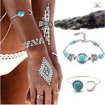 Jonc et Bracelet Tibetain Turquoise