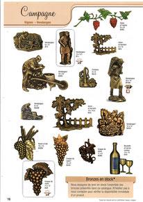 bronze-plaque-funeriare-ornement-vigne-vendange-raison-vin-bouteille