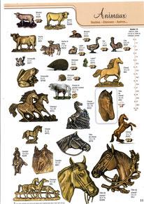 plaque-funeraire-bronze-animaux-ferme-canard-vache-cheval
