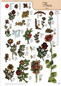bronze-plaque-ornement-funeraire-fleur-roses-fleurs