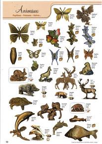 bronze-funeraire-sanglier-cerf-chasse-papillon-lapin