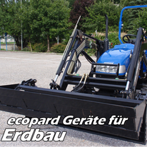 ecopard Kleintraktor Anbaugeräte für den Erdbau (Frontlader, Heckbagger, Gräder, Transportbox)