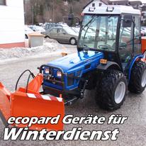 ecopard Kleintraktor Anbaugeräte für den Winterdienst (Schneepflug, Streugerät, Salzstreuer)