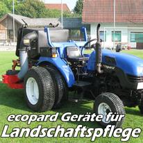 ecopard Kleintraktor Anbaugeräte für die Landschaftspflege (Sichelmähwerk,  Schlegelmäher, Mulcher, Gras/Laubsauger)