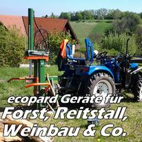ecopard Kleintraktor Anbaugeräte für den Reitstall, Weinbau und Forstwirtschaft (Seilwinde, Holzhächsler, Reitbahnplaner, Gebläsespritze)