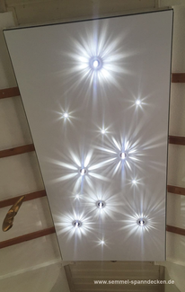 Bild mit Sternenhimmel von Swarovski in CILING-Element mit Spanndecke