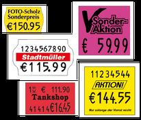 Preisauszeichnungsetiketten für contact, Meto, Blitz und Sato
