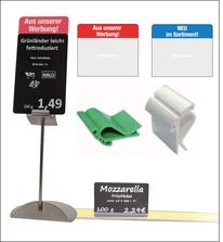 METO-Preisschildhalter, Klammern und Aufsteller