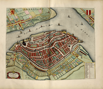 The city Dordrecht as published in Tooneel der Steden van Vereeighde Nederlanden, (Images of the Kingdom of the Netherlands) with descriptions. Blaeu. J. (Amsterdam, 1652), Library of Congress, Geography and Map Division (G1851.B52 1652) Washington DC.