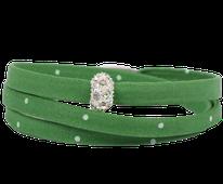 Trachten Armband aus Stoff der Kollektion Morgentau, dreimal gewickelt in Pink.