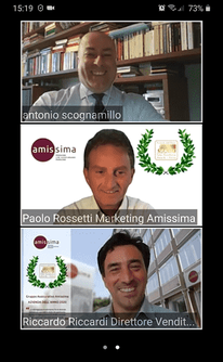 Il team di management commerciale marketing di Amissima: Antonio Scognamillo Direttore Commerciale; Riccardo Riccardi Direttore Vendite; Paolo Rossetti Responsabile Marketing.