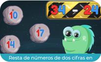 Resta de números de dos cifras en horizontal 2 (PRIMERO)