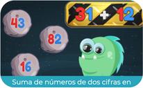 Suma de números de dos cifras en horizontal 1 (PRIMERO)