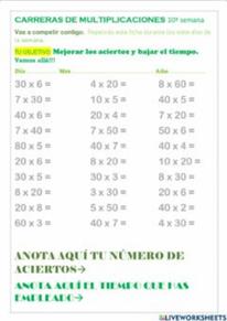 Carreras de multiplicaciones