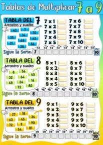 Tablas de Multiplicar del 7, 8 y 9