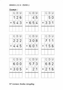 Sumas números de tres cifras
