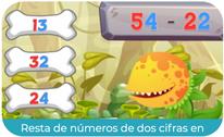 Resta de números de dos cifras en horizontal 1 (PRIMERO)