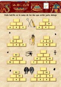 Pirámides (Cada ladrillo es la suma de los de abajo)M