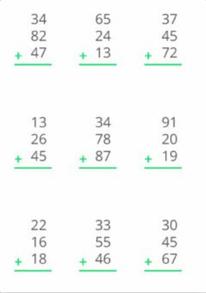 Suma de tres números de dos cifras con llevadas