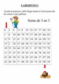Laberinto numérico (Sumar de 3 en 3)