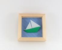 Cadre mural origami bateau ELO DECO ATELIER decoration chambre enfant, cadeau de naissance