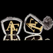 Manschettenknöpfe in Silber mit Monogram in Rotgold aus der Mikrokosmos Männerschmuck Kollektion der Goldschmiede OBSESSION