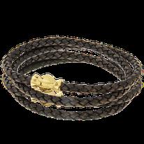 Schwarzes Lederarmband mit Verschluss in Silber aus der Gremlin Männerschmuck Kollektion der Goldschmiede OBSESSION