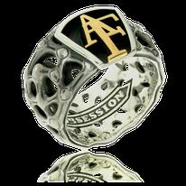 Ring in Silber mit Monogram in Rotgold aus der Mikrokosmos Männerschmuck Kollektion der Goldschmiede OBSESSION